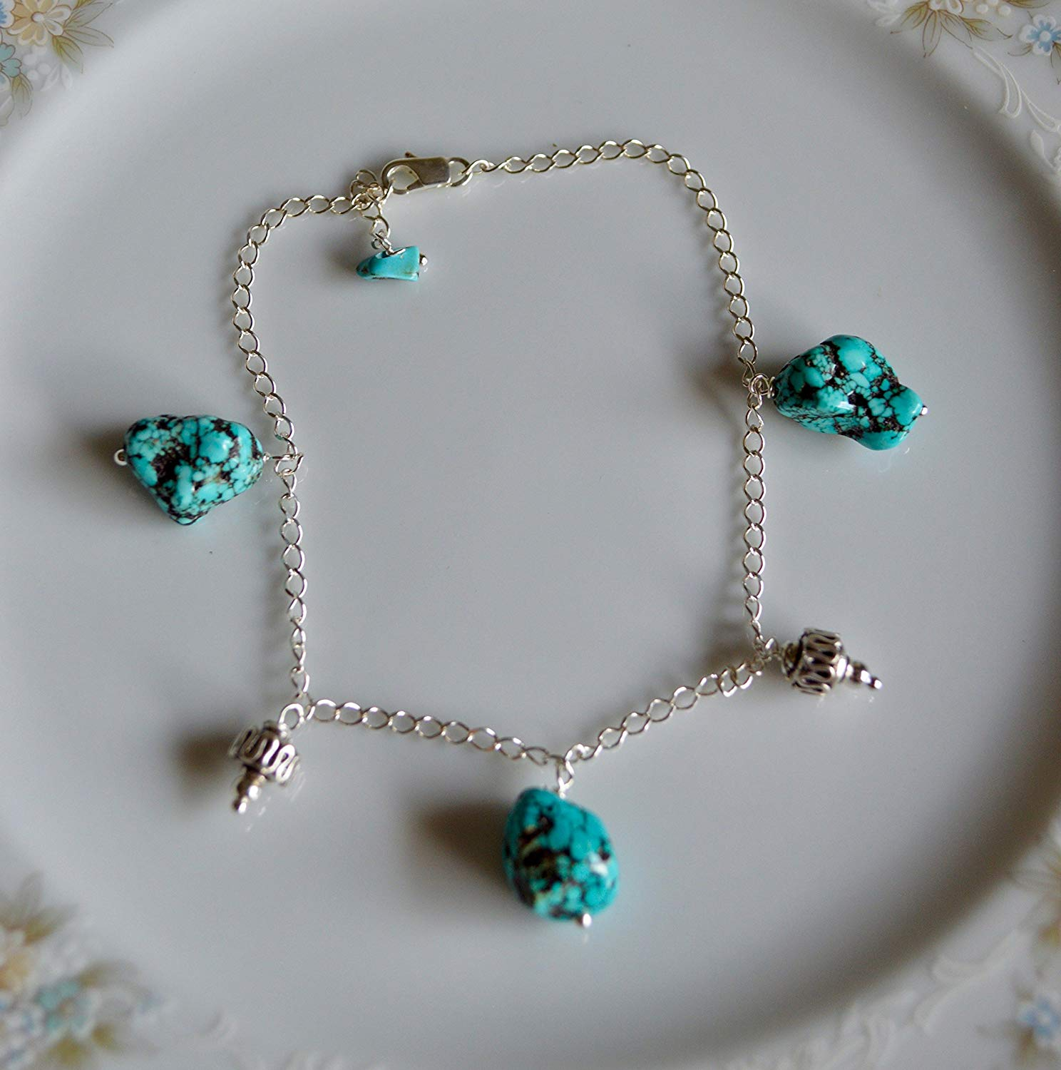 Turquoise nugget and bali bead sterling silver anklet, cruise wear, beach jewelry