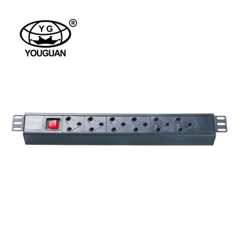 19 Inch 6 Ways South Africa Type Power Strip PDU For Cabinet