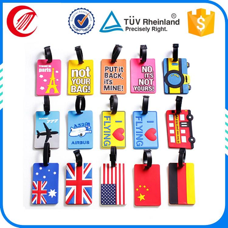 High Quality Soft Pvc Travel Bag Tags Oem Shaped Airport Luggage Tag