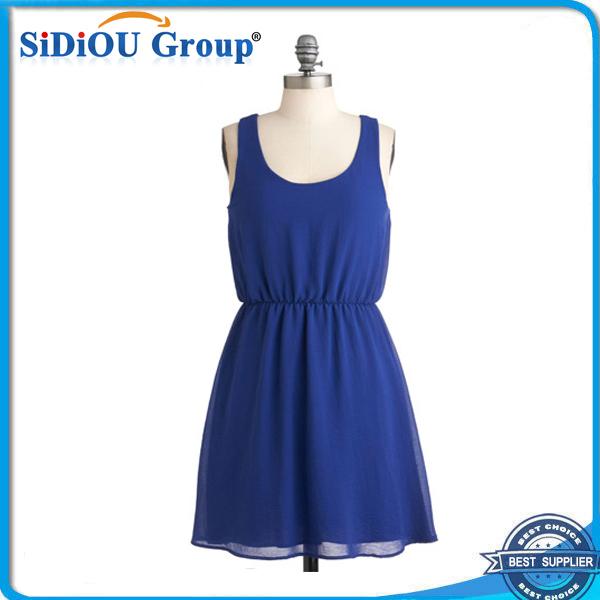 27c387060 Moda verano azul real mujeres vestido casual elegante moda casual señoras  maduras vestidos