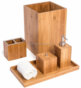 Wholesale Bamboo Bathroom Set Hot Selling Bamboo Bathroom Accessories Classics Bamboo Bath and Vanity Set, 5 pcs