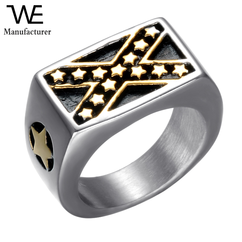Punk Biker Style Jewelry Narrow Intersect X Star Men Stainless Steel Rings