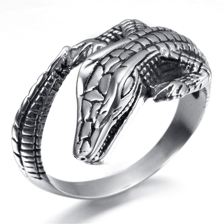 silver punk s rings mens women lizard finger charm ring stainless unisex steel animal retro simple p jewelry carved men