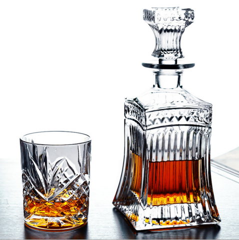 Glas kristal whiskey decanter en glas gift set