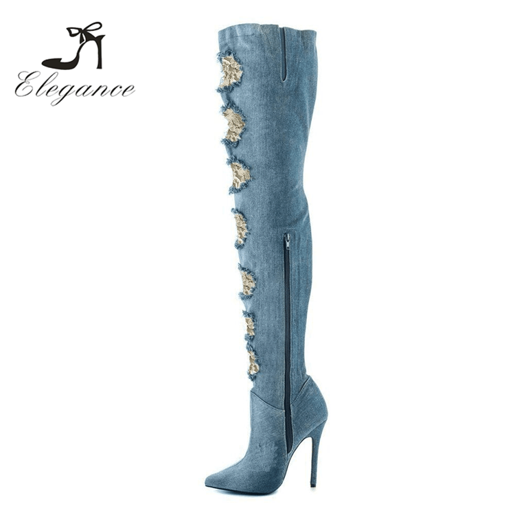 2017 Fashion Brand Gladiator Ladies Sexy Cut-Out Jeans Denim Stiletto Heels Thigh High Boots Women