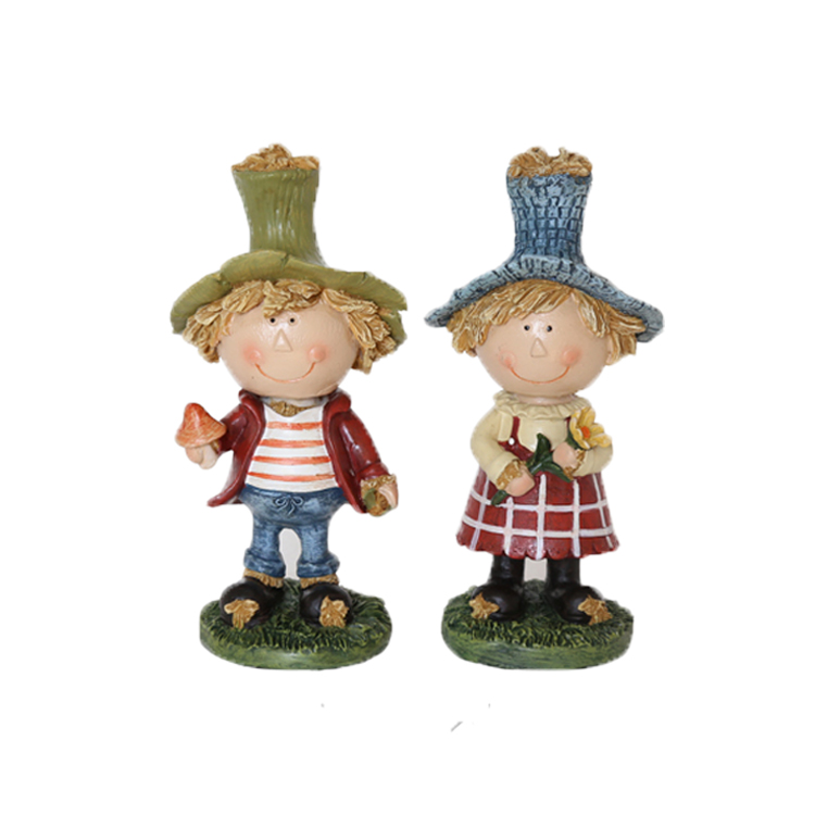 wholesale <strong>resin</strong> standing lovely boy&girl ornaments for Thanksgiving