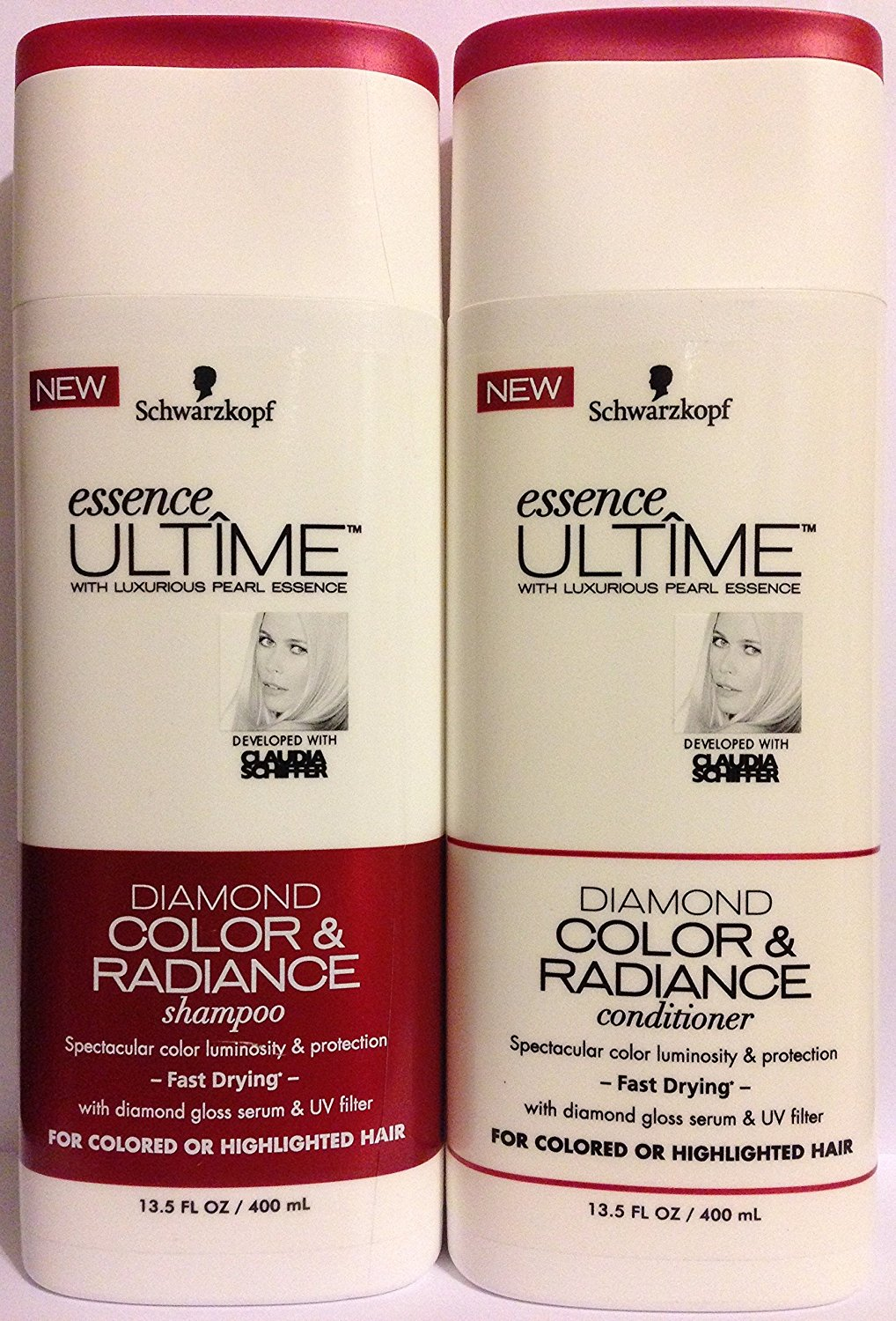 Schwarzkopf Essence Ultime Haircare - Diamond Color & Radiance - For Colored Or Highlighted Hair - Shampoo & Conditioner Set - Net Wt. 13.5 FL OZ (400 mL) Per Bottle - One Set