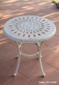 Hotel Restaurant Outdoor Tables Cast Aluminum Side Table White Color Flower Design Embly Ivy14223