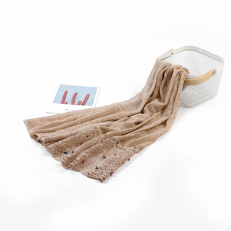 Newest design scarf ladies hijab long lace wrap easy to wear shawl