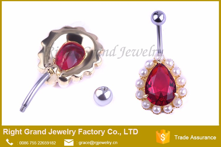 Belly Ring Navel Button Red Cz Faux Pearl Gold Plate Belly Bar Body Piercing View Belly Ring Navel Right Grand Jewelry Product Details From Shenzhen