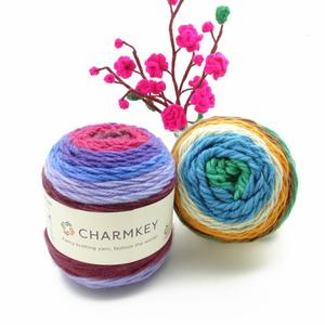 Charmkey wholesale pastel amazing hair wool acrylic yarn cake yarn beautiful lustre wool knitting yarn for knitting and crochet