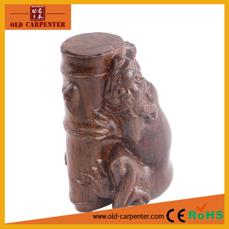 Chinese culture Mythical Pixiu hugs Bamboo carving fancy wood craft