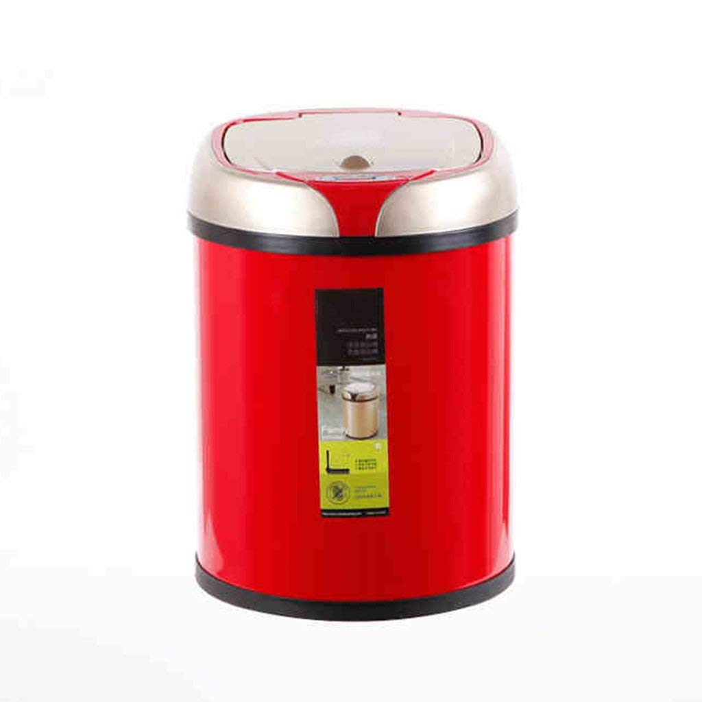 LIZHIQIANG Automatic Sensor Trash Creative European Home Living Room Office Intelligent Trash, Red