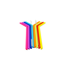 Bar Accessories Silicone Straws Tasteless Non-toxic Colorful Drinking straw for smoothies,milkshakes,creamy soups