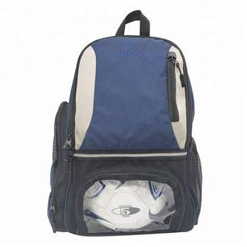 2019 New Style Blue Custom Logo Gym Sack Pack Waterproof Sport Gym Soccer Ball Bag Backpack With Ball Holder