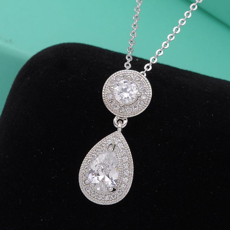 Simple design big diamond double circle ring pendant necklace buy simple design big diamond double circle ring pendant necklace mozeypictures Choice Image