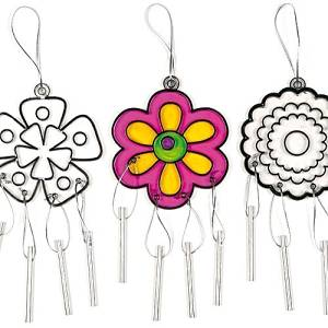 Flower Suncatcher Windchimes for Children to Paint and Decorate - Pack of 6, Model: , Toys & Play