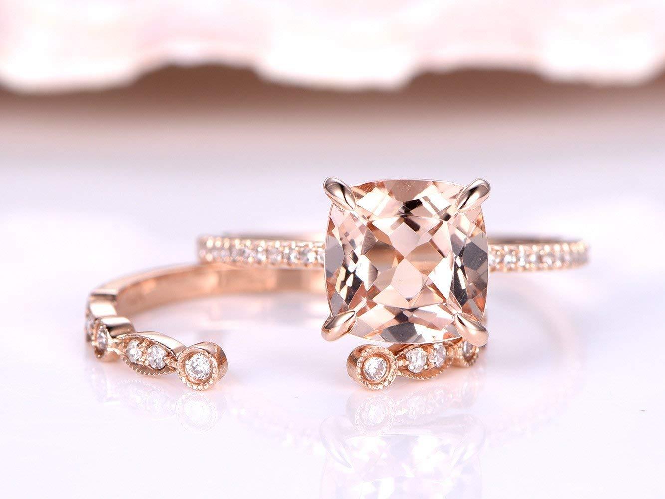 2 Solid 14k Rose Gold Morganite Rings Jewelry Set,8x8mm Cushion Cut Natural Pink Morganite Claw Diamond Thin Band Ring,Marquise Milgrain Vintage Art Deco Diamonds Wedding Propose Matching Band Sets