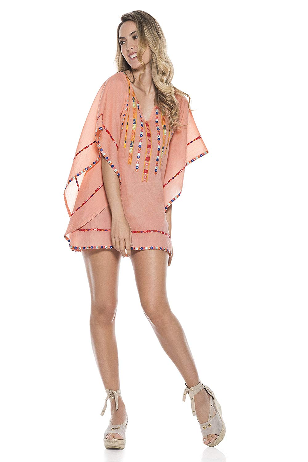 3d08db90194cd Get Quotations · OndadeMar Embroidered Poncho TPO044 Bicollage Collection