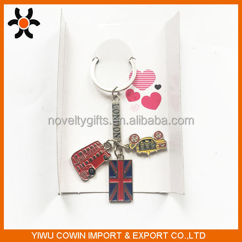 Hot couple metal key chain flag and bus keychain