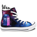 Wen Hot Hand Painted Shoes Design Custom Doctor Who Wine Red Galaxy Tardis High Top Women