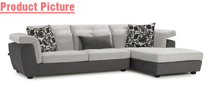 Gray Fabric Small House Simple Sectional L Shape Sofa Fs1002