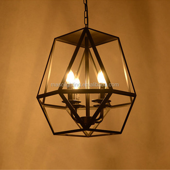 American Country Vintage Cage Iron Pendant Light E14 Led Fixtures Restaurant Ceiling