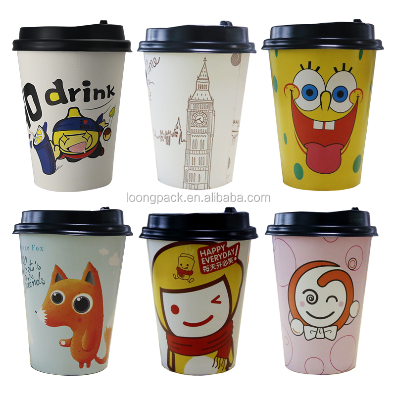 Cartoon series lovely design disposable paper cup 12oz 0002