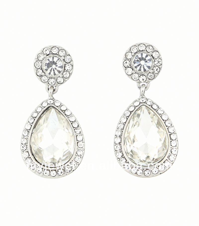 Rhinestone Bezeled Teardrop Earrings With Hanging Shourouk Tanishq ...