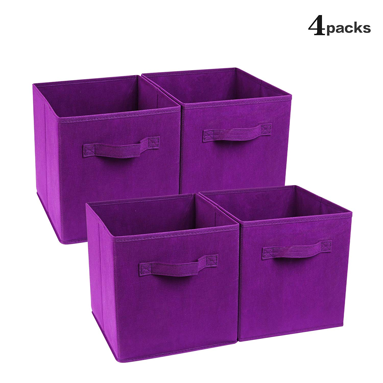 ZONYON 4-Cube Heavy Duty Storage Container, Foldable Fabric Storage Cube,Basket,Bookshelf Organizer,Nursery Hamper with Handle for Women,Men,Kids,Toys,Bedroom,Closet,Office,11''X11''11'',Purple