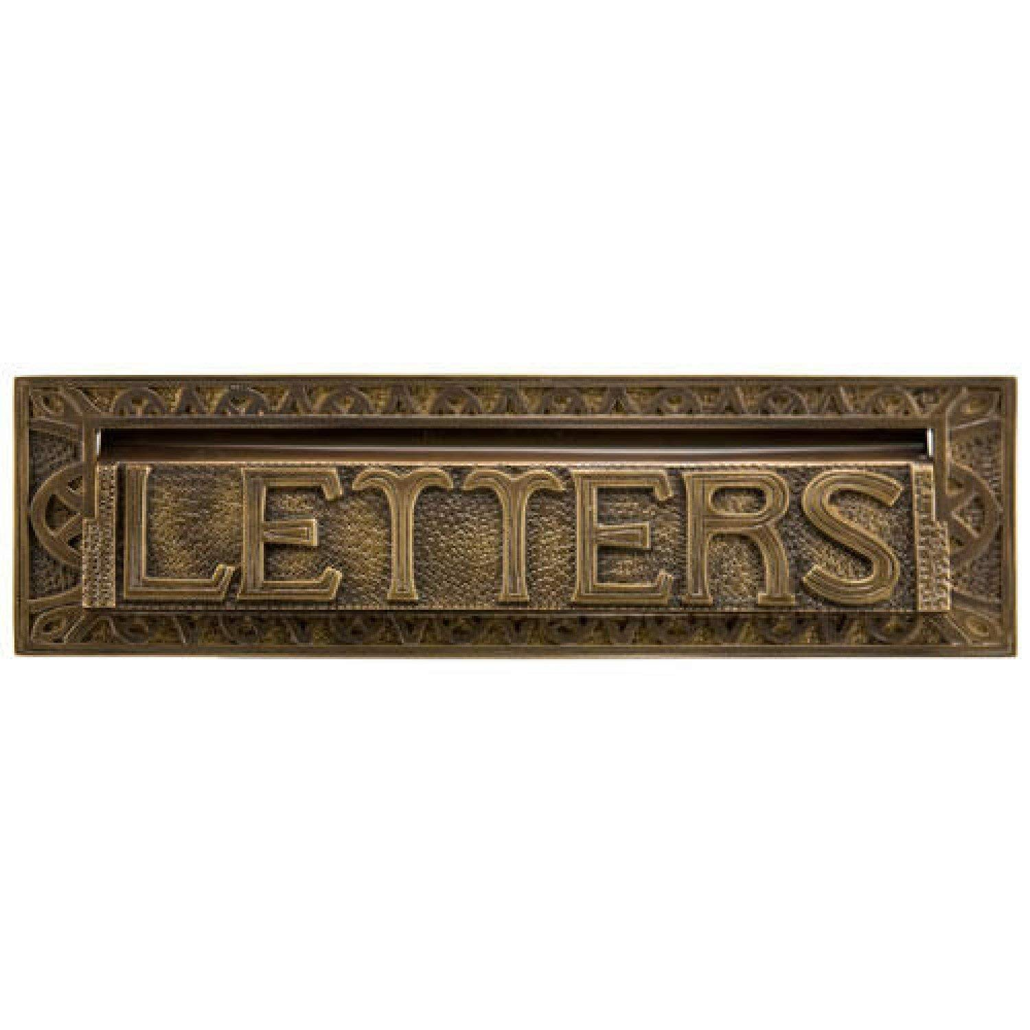 "Naiture 13"" Heavy Duty""LETTERS"" Mail Slot In Antique Brass"