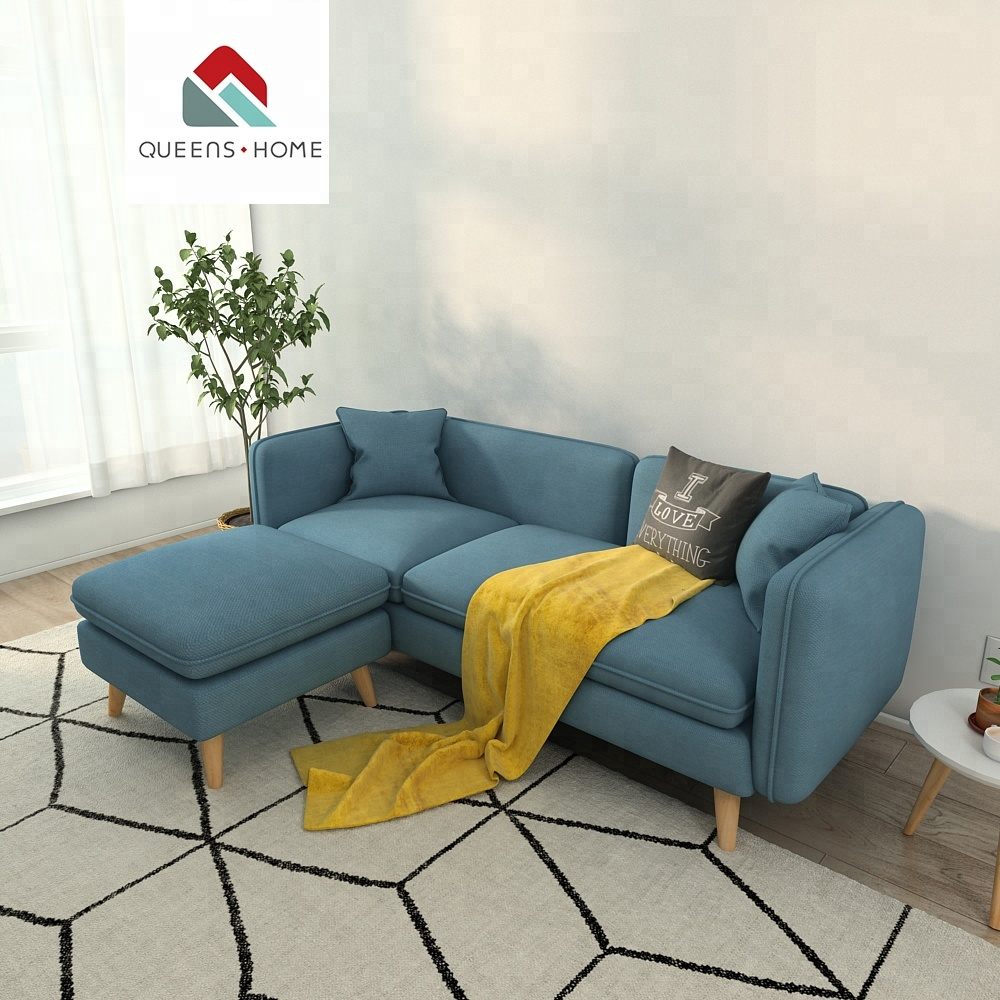 Queenshome Modern Upholstery Fabric Bright Colored Bamboo Design Furniture Sofa For Living Room Set Guangzhou Home Funeral