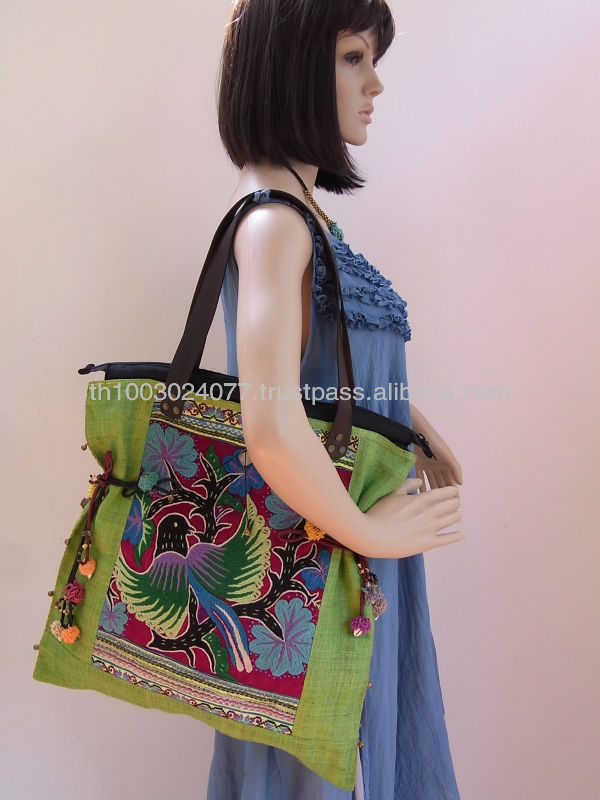 Green Tote Handbag Embroidered Vintage HMONG Cloth Hemp Canvass