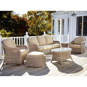Classic latest design outdoor furniture rattan garden recliner sofa with footstool