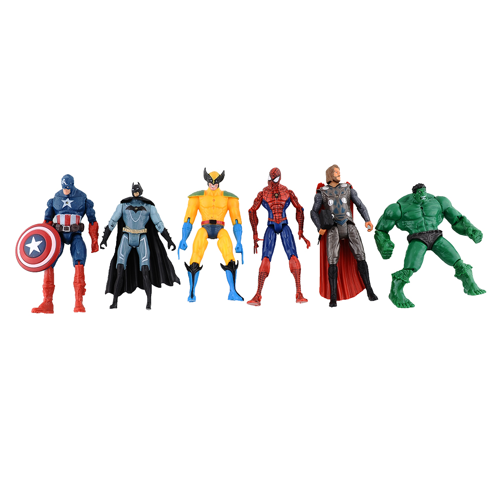 6pcs Marvel The Avengers Super Hero Captain Wolverine Batman Figure Doll Action Kids Toy Home Decor Gift