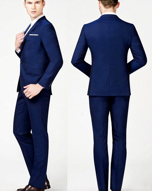 Buy Mens Navy Blue Suit Custom Made Slim Fit Suits Grooms Men ...