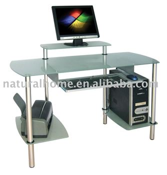glass computer desk in home