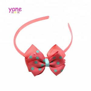 A side big bowknot ,thin hairband with dark pink decoration accessories