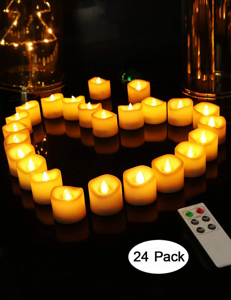 """HOME MOST Set of 24 LED Votive Candles with Remote (1.5"""" D x 1.5"""" H, 4/5/6/8 Hour Timer) - Votive Candles Battery Operated Candles with Flickering Flame and Timer - Wedding Decorations For Reception"""