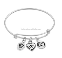 Lovely Jewelry 925 Sterling Silver Stackable Expandable Wire Bangle Pet Paw Charm Bangle Bracelet
