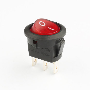 KCD8 6a 250v 3 pin red illuminated rocker switch round
