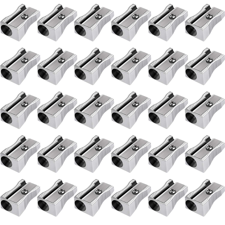 Frienda 48 Pack Metal Mini Pencil Sharpeners Silver Single Hole Aluminum Alloy Handheld Sharpener Manual Pocket Pencil Sharpeners for Standard Size Pencils