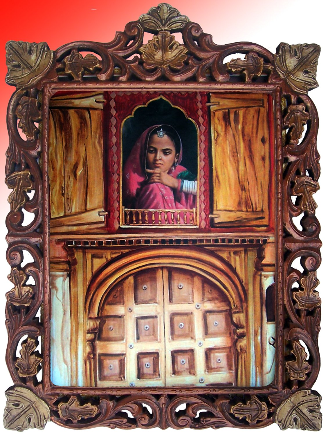 Get Quotations A Lady Looking Out Side From Palace Window Wood Craft Hand Made Frame Art