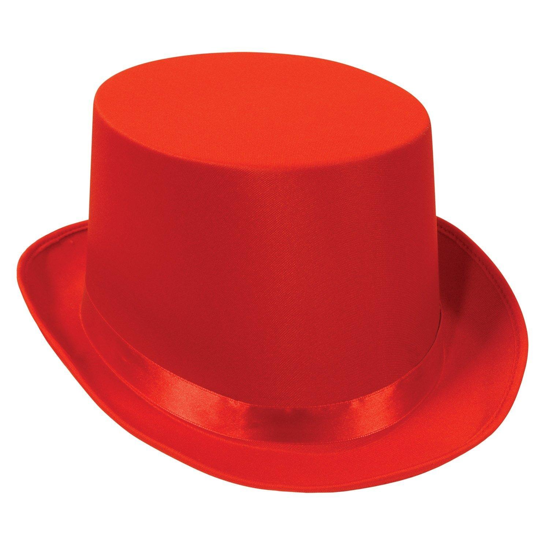 Beistle 60839-R 6-Pack Satin Sleek Top Hat, Red