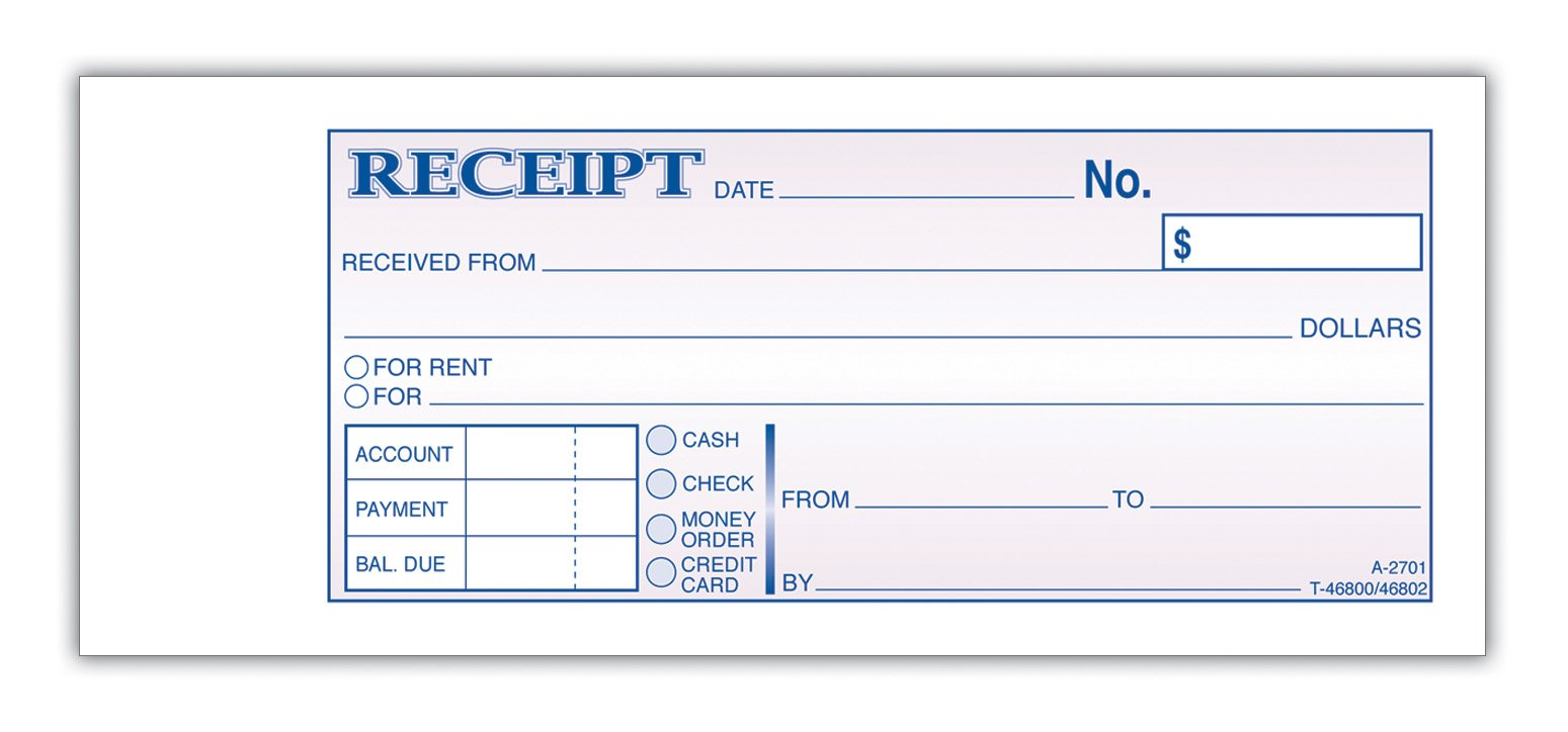 Adams Money and Rent Receipt Book, 3-Part, Carbonless, 2.75 x 7.19 Inch, 50 Sets, 3-Pack, White and Canary and Pink (TC2701-3)