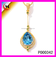 GOLD PENDANT DESIGNS MEN,BIG STONE PENDNAT DESIGN,LARGE BLUE TOPAZ PENDANT