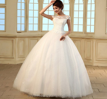 Free Shipping 2016 Vestido De Noiva Robe Mariage Cap Sleeves Princess Puffy White Lace Wedding