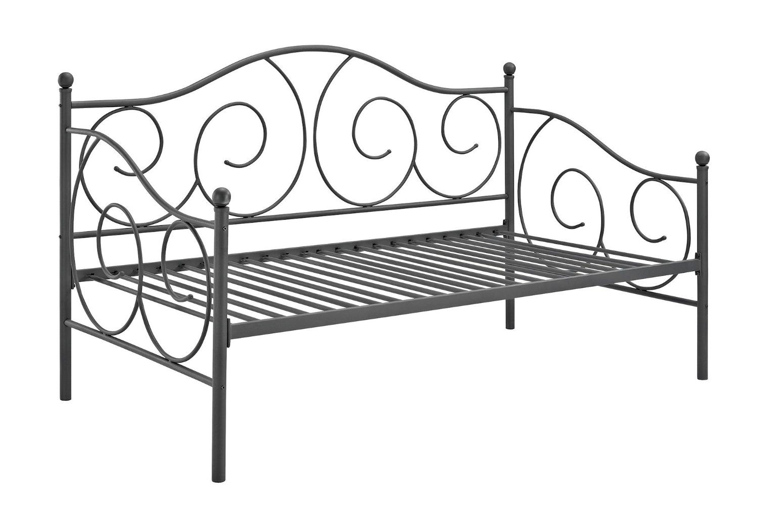 DHP Victoria Daybed Metal Frame, Multifunctional, Includes Metal Slats, Twin Size, Pewter
