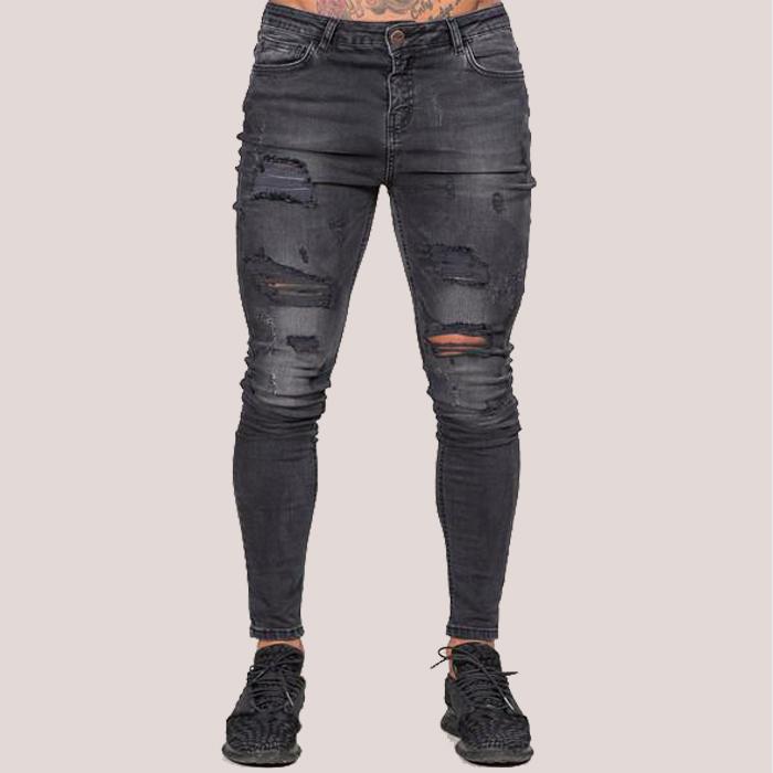 4a0b82e1e53a0 Para hombre gris jeans de moda de la calle denim ropa de los hombres  jóvenes Vaqueros