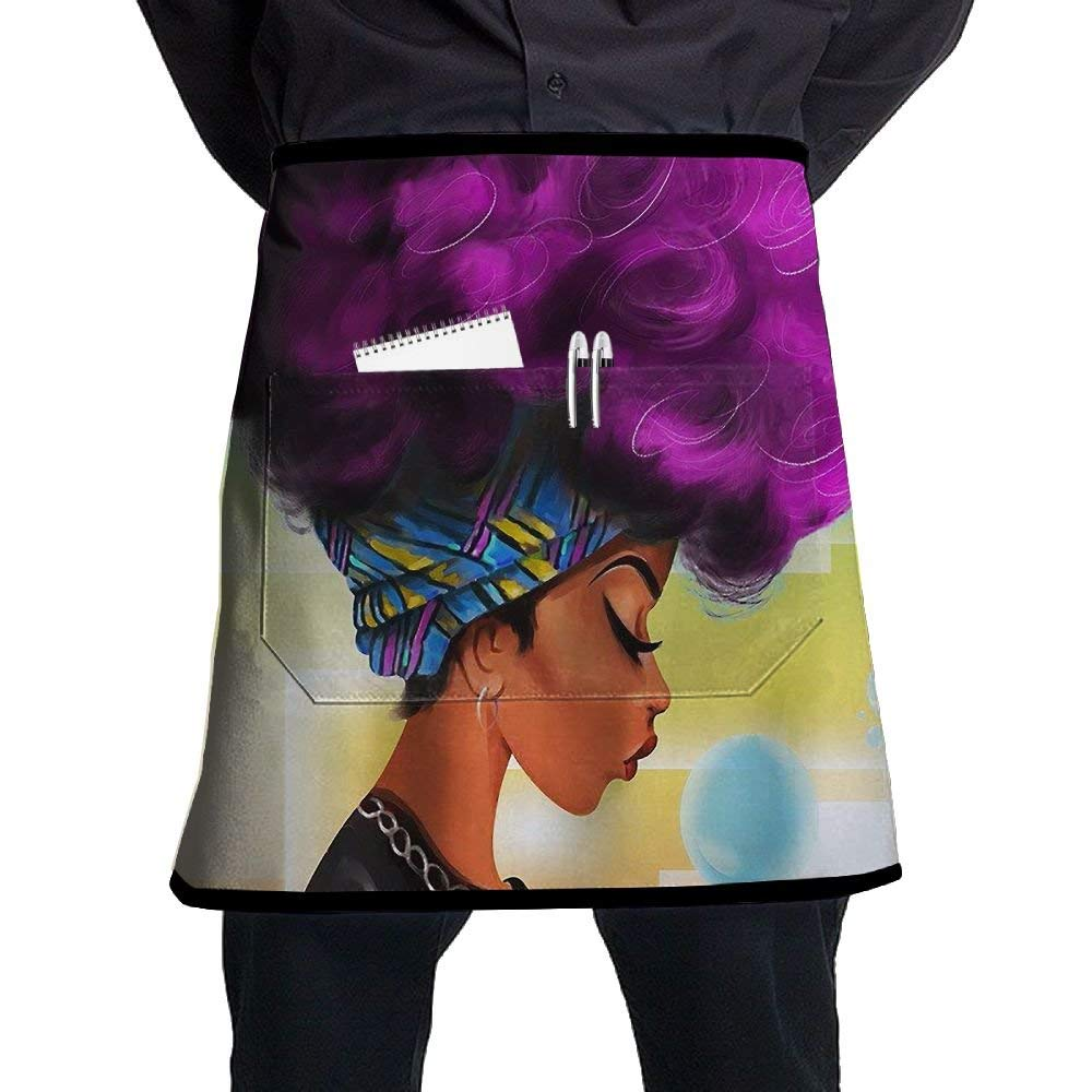 Crazy Popo Pocket Waist Apron For Men & Women, African Women With Purple Hair Waist Aprons With 2 Pockets For Chef, Baker, Servers, Waitress, Waiter